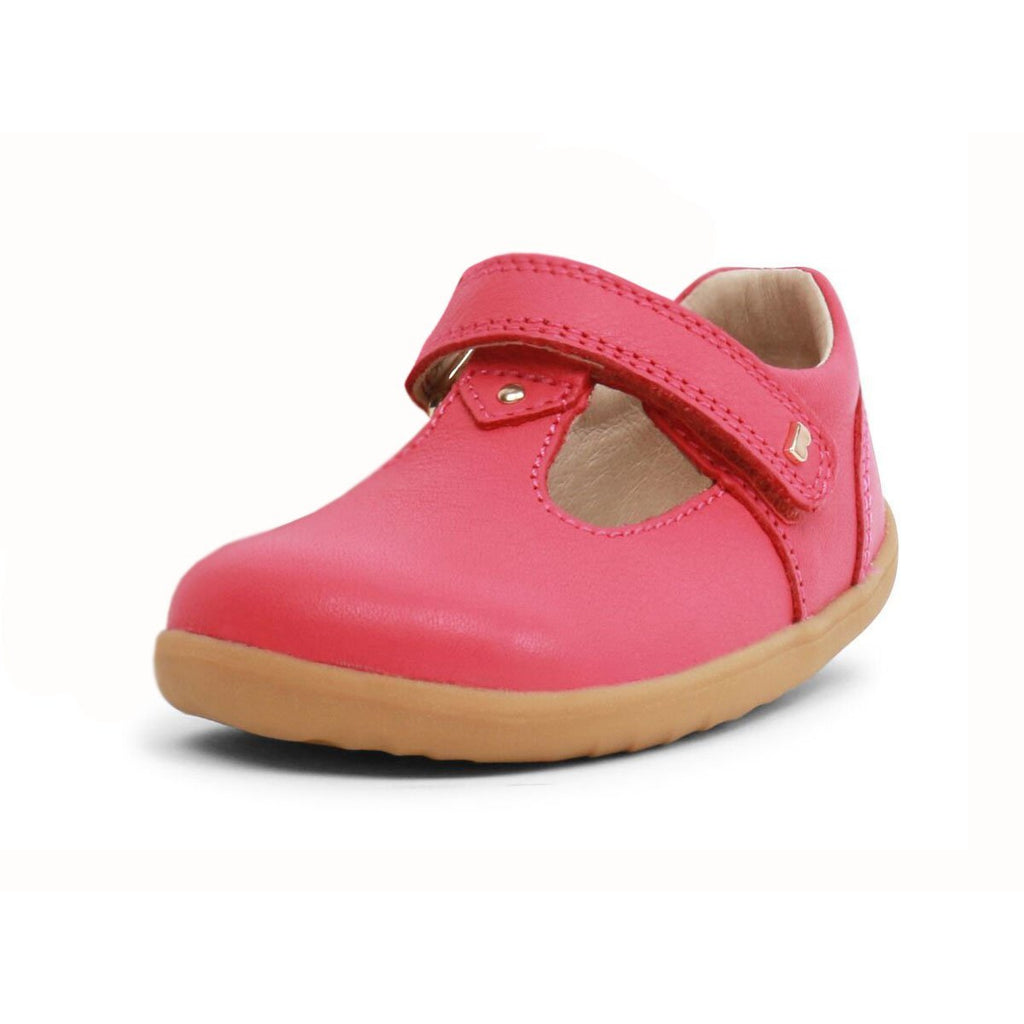 Bobux Step Up Strawberry Shimmer T-bar Barefoot Kids Shoe. From Cooshoo kids shoes.