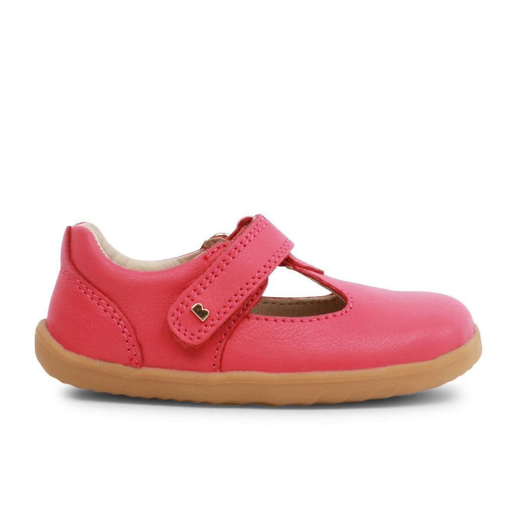 Profile of Bobux Step Up Strawberry Shimmer T-bar Barefoot Kids Shoe. From Cooshoo kids shoes.