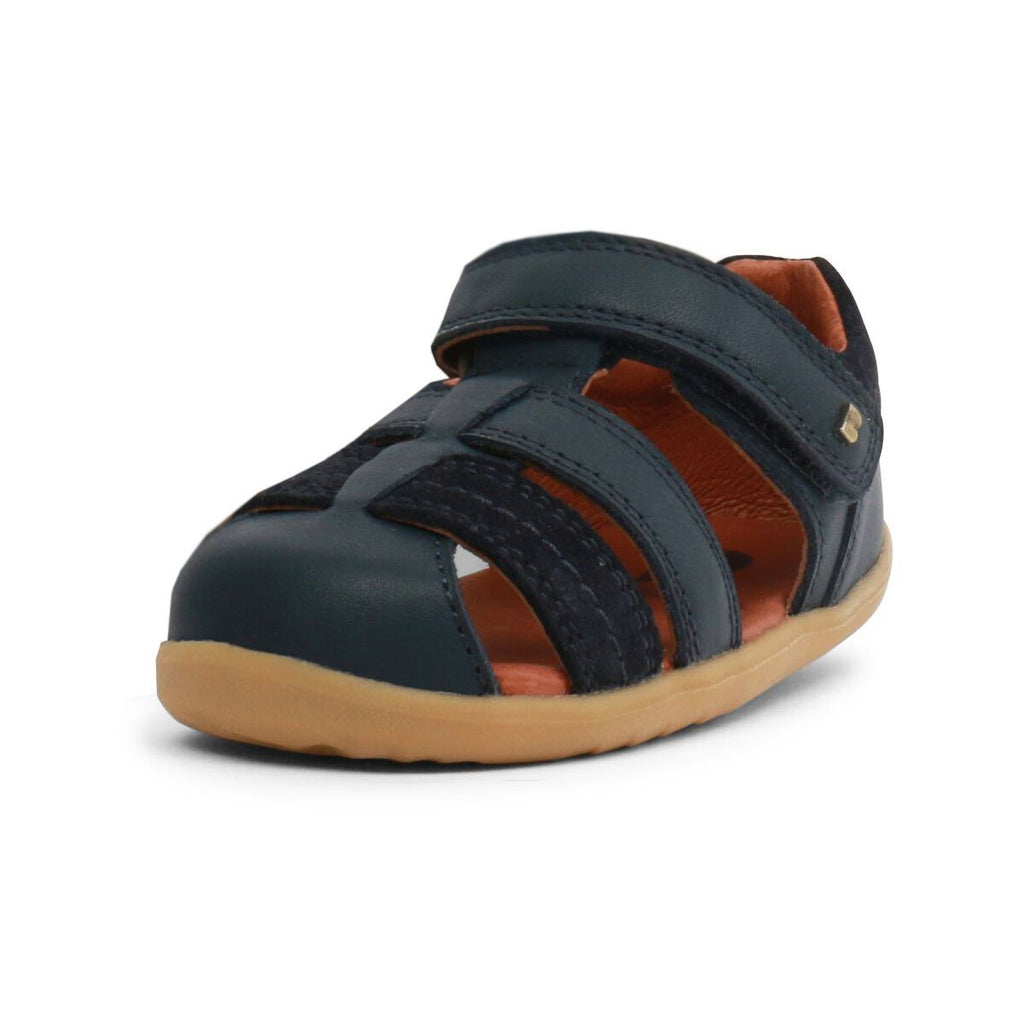 Bobux Step Up Roam Navy Closed Sandals, barefoot children's shoes. From Cooshoo fitted childrens shoes.