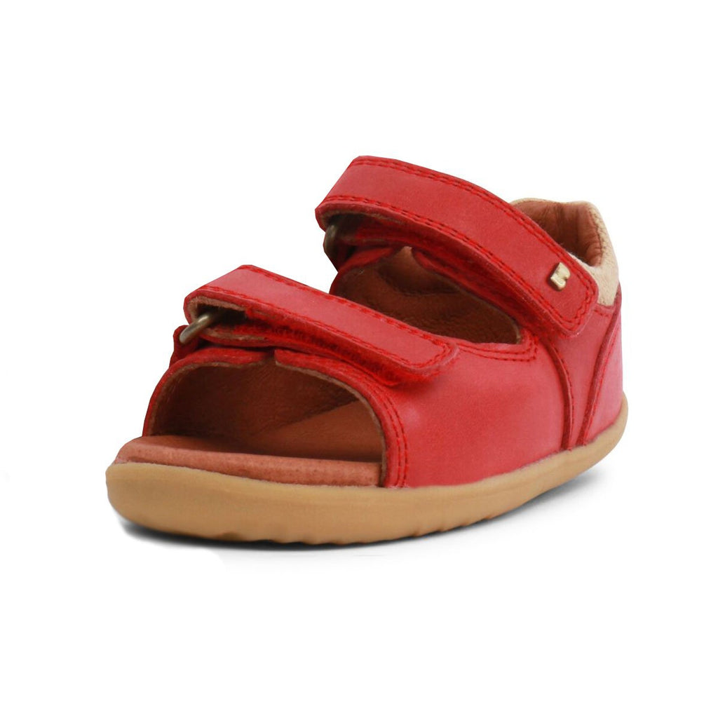 Bobux Step Up Driftwood Red Open Toe Sandals, barefoot children's shoes. From Cooshoo fitted childrens shoes.
