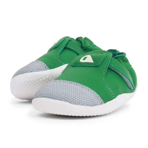 Pair of Bobux Step-up Explorer Emerald Green Pre-walker Shoes. From Cooshoo fitted childrens shoes.