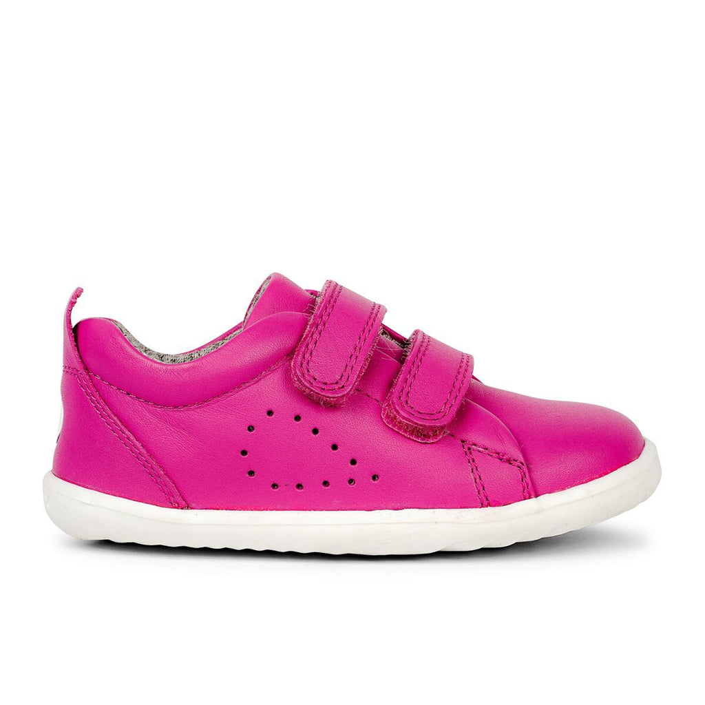 Profile Bobux Step Up Grass Court Raspberry barefoot shoes. From Cooshoo kids shoes.