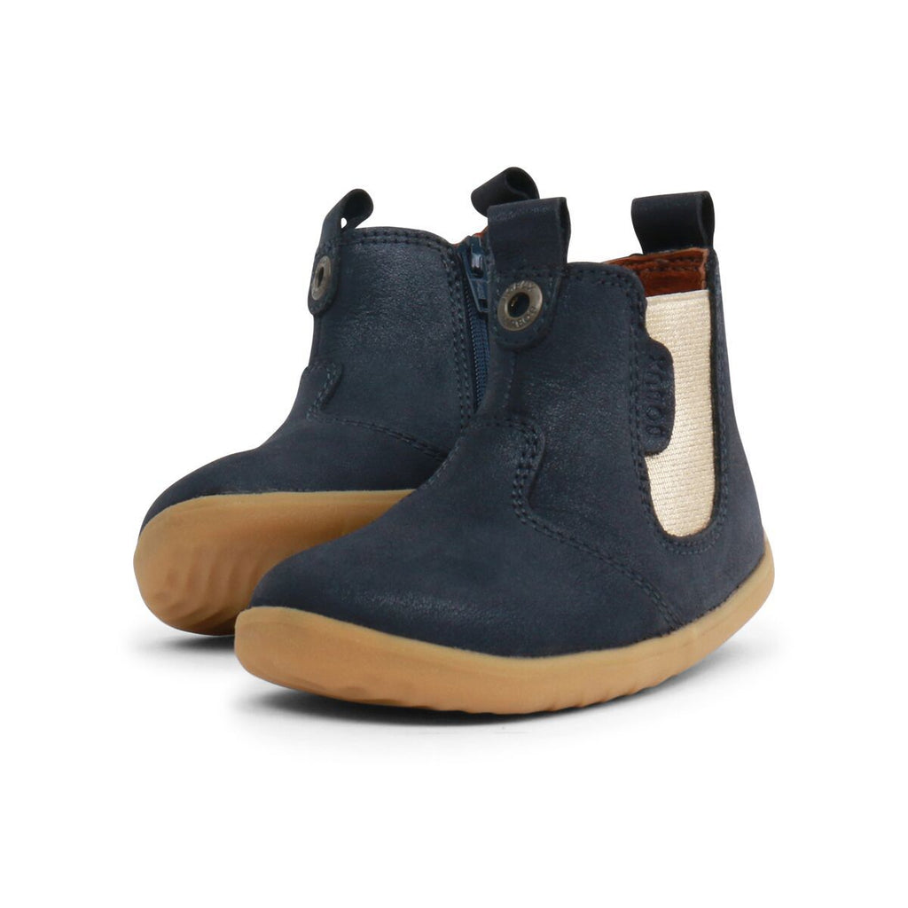 Pair of Bobux Step Up Navy Shimmer Jodphur Boots, barefoot children's shoes. From Cooshoo fitted childrens shoes. Jodphur Boots, barefoot children's shoes. From Cooshoo fitted childrens shoes.