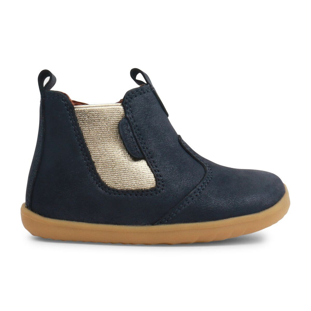 Profile of Bobux Step Up Navy Shimmer Jodphur Boot, barefoot children's shoes. From Cooshoo fitted childrens shoes. Jodphur Boots, barefoot children's shoes. From Cooshoo fitted childrens shoes.