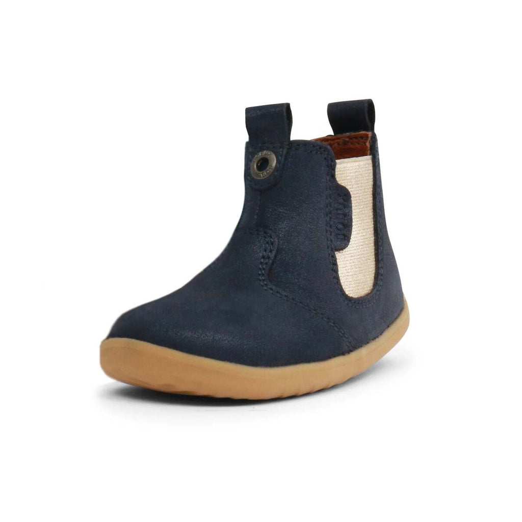Bobux Step Up Navy Shimmer Jodphur Boot, barefoot children's shoes. From Cooshoo fitted childrens shoes.