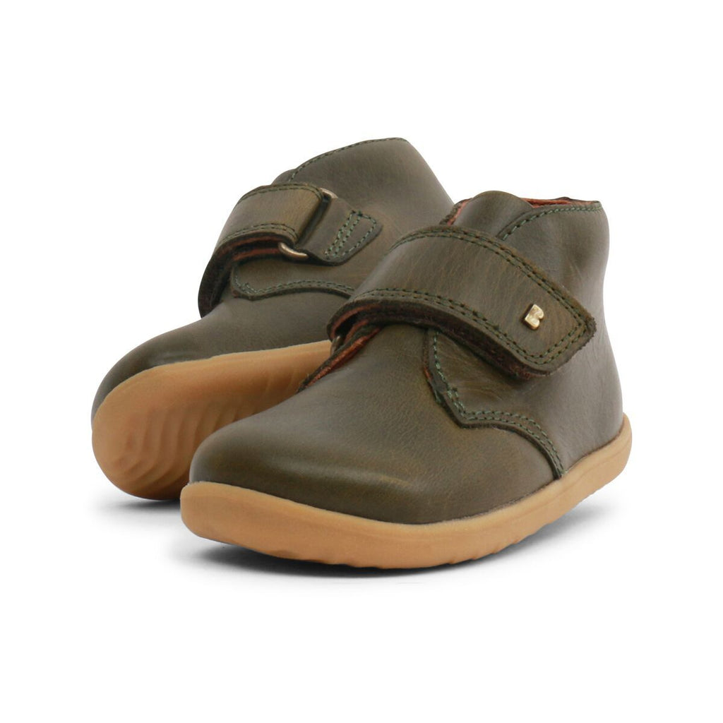Pair of Bobux Step Up Olive Green Barefoot Kids Desert Boots. From Cooshoo fitted childrens shoes.