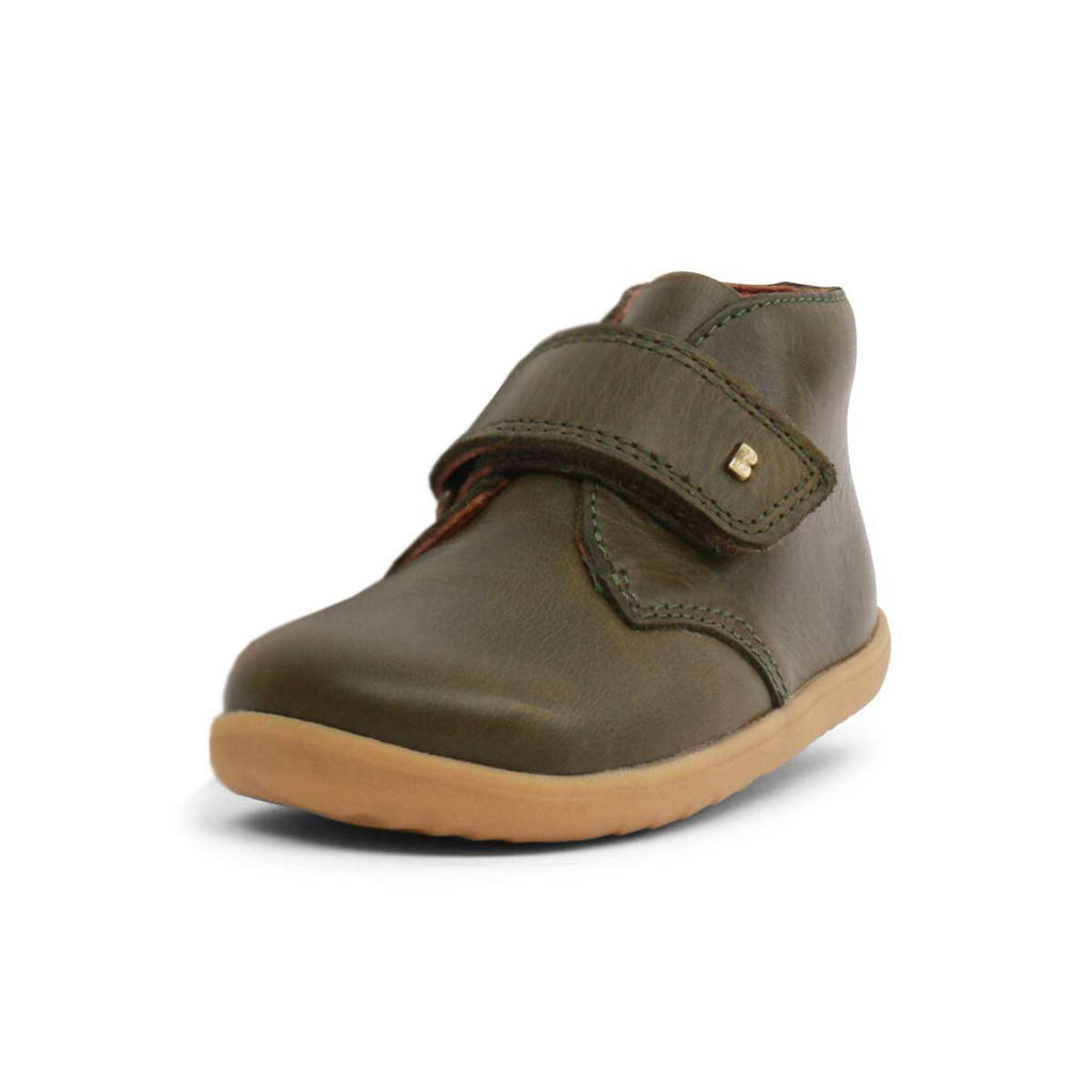 Bobux Step Up Olive Green Barefoot Kids Desert Boot. From Cooshoo fitted childrens shoes.