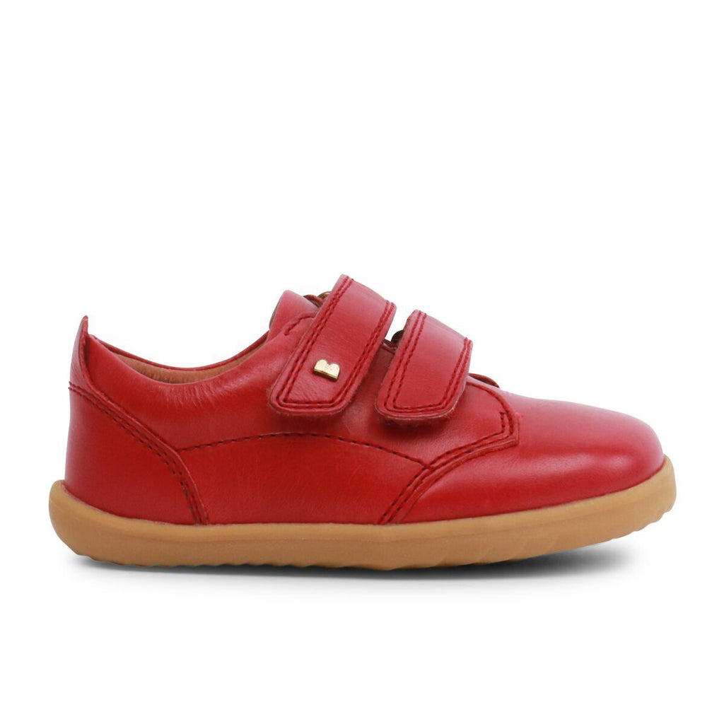 Profile of Bobux Step Up Port Rio Red Barefoot Kids Shoes. From Cooshoo fitted childrens shoes.