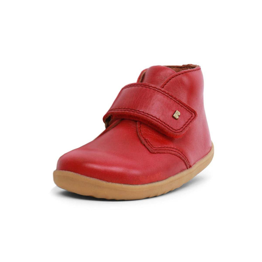 Bobux Step Up Port Rio Red Barefoot Kids Desert Boot. From Cooshoo fitted childrens shoes.