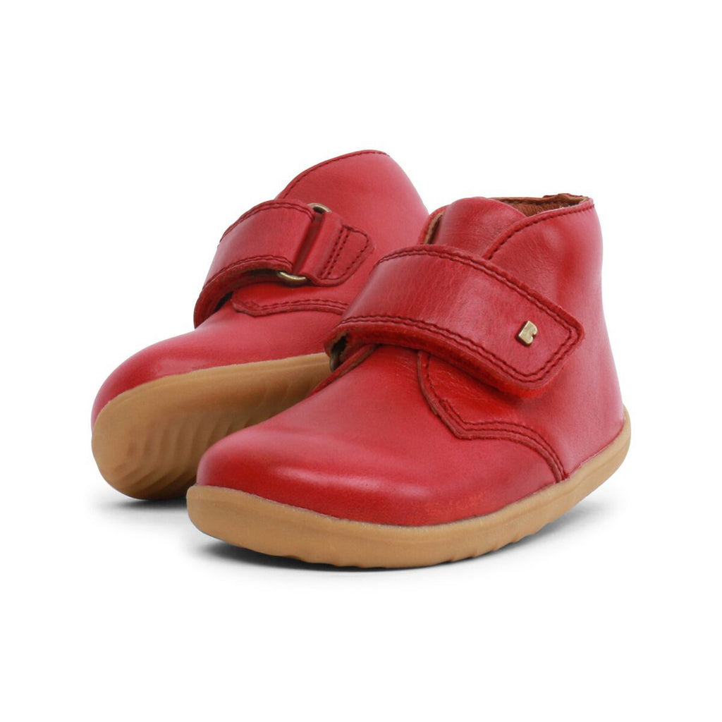 Pair of Bobux Step Up Port Rio Red Barefoot Kids Desert Boots. From Cooshoo fitted childrens shoes.