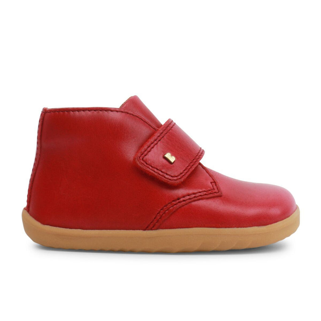 Profile of Bobux Step Up Port Rio Red Barefoot Kids Desert Boot. From Cooshoo fitted childrens shoes.
