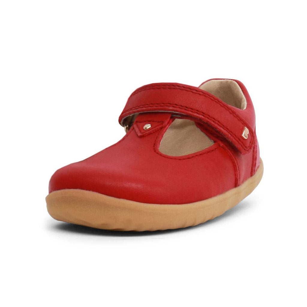 Bobux Step Up Port Rio Red T-bar Barefoot Kids Shoe. From Cooshoo kids shoes.