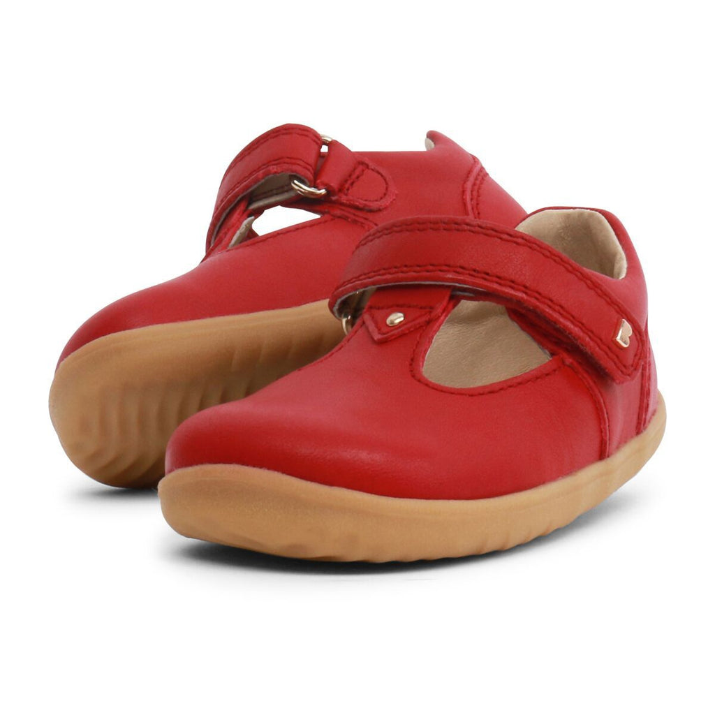 Pair of Bobux Step Up Port Rio Red T-bar Barefoot Kids Shoes. From Cooshoo fitted childrens shoes.