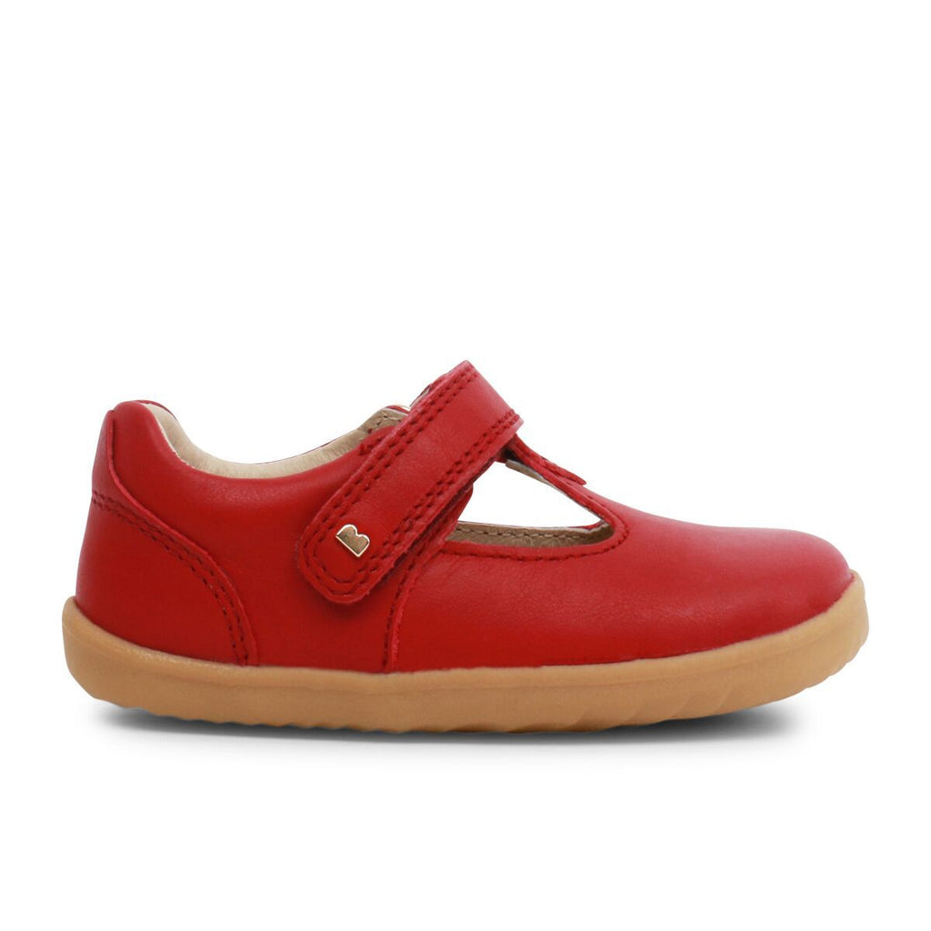 Profile of Bobux Step Up Port Rio Red T-bar Barefoot Kids Shoe. From Cooshoo kids shoes.