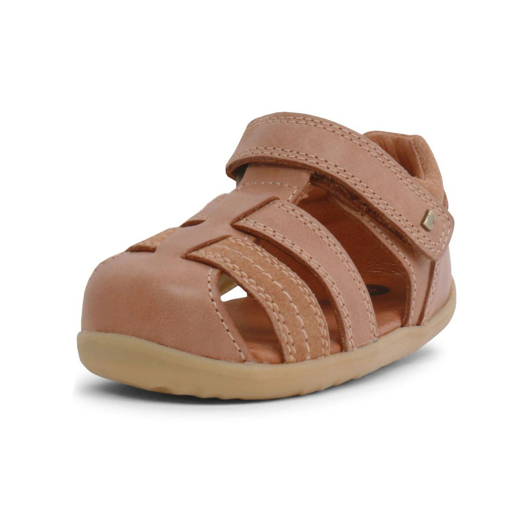 Bobux Step Up Roam Caramel Closed Sandals, barefoot children's shoes. From Cooshoo fitted childrens shoes.