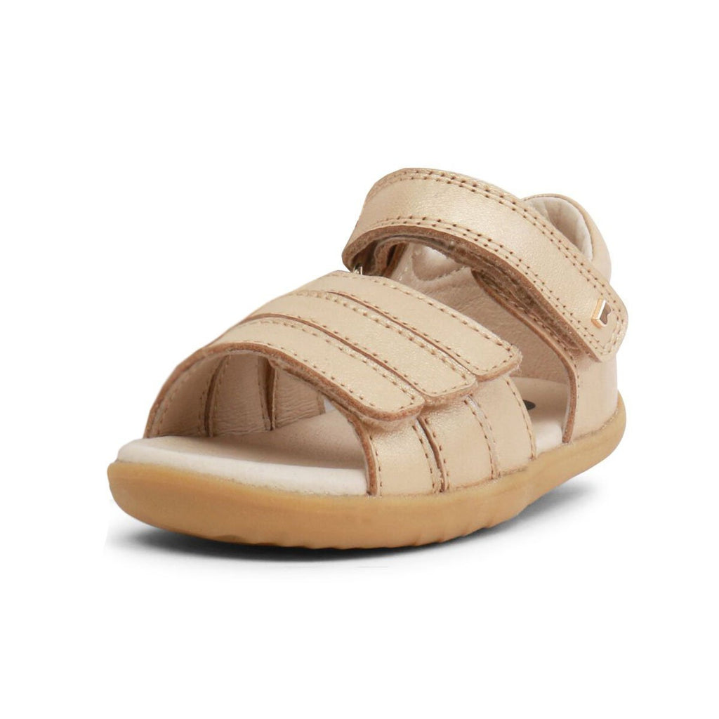 Bobux Step Up Hampton Gold Sandals, barefoot children's shoes. From Cooshoo kids shoes.