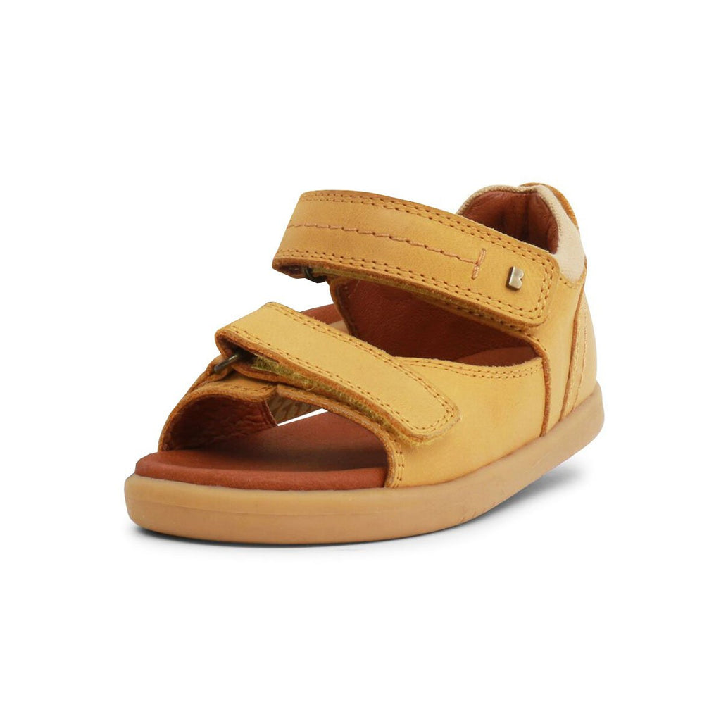 Bobux I-Walk Driftwood Chartreuse Yellow Open Toe Sandals, barefoot children's shoes. From Cooshoo fitted childrens shoes.