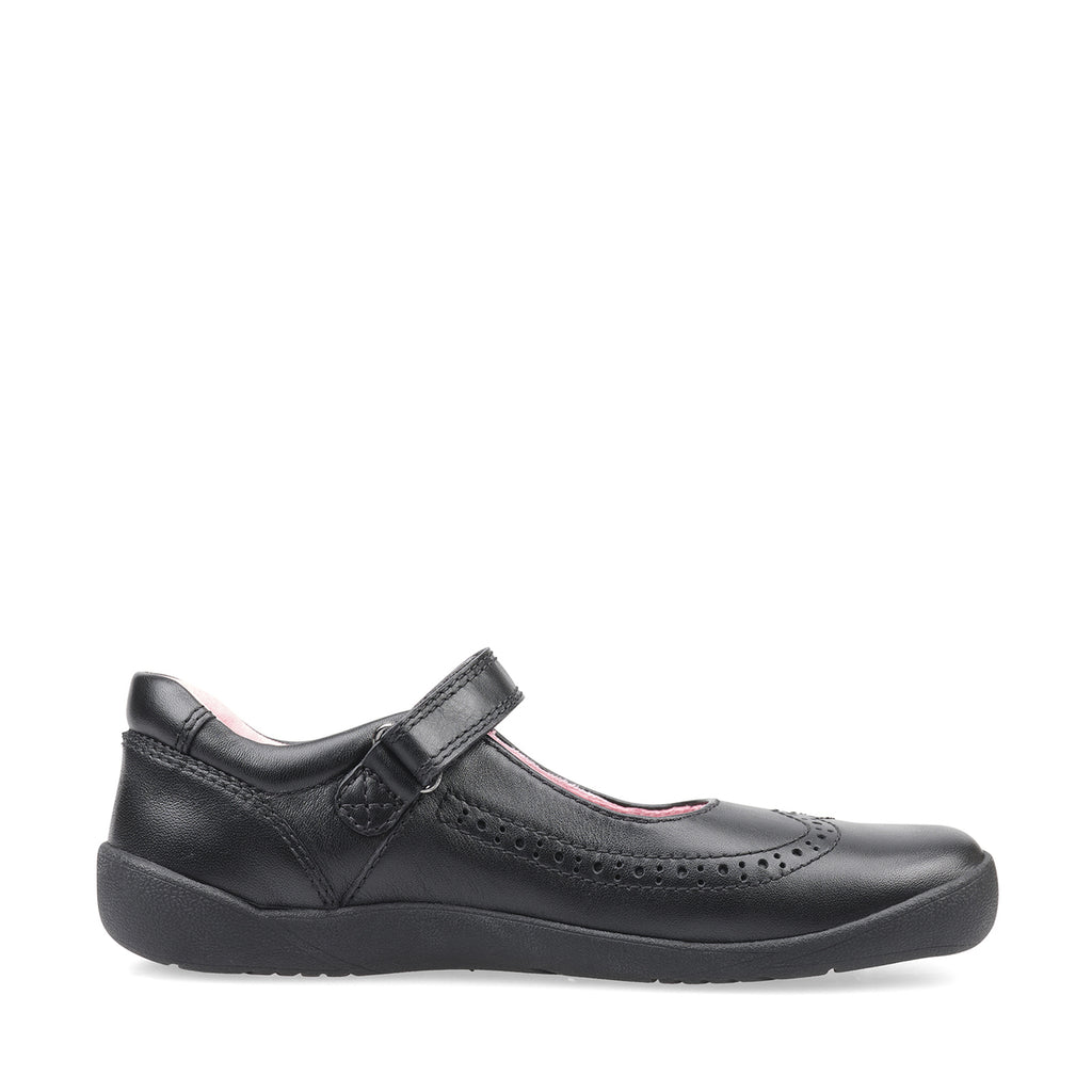 Profile of Start-Rite Spirit Black Mary-Jane School Shoes. Cooshoo kids school shoes.