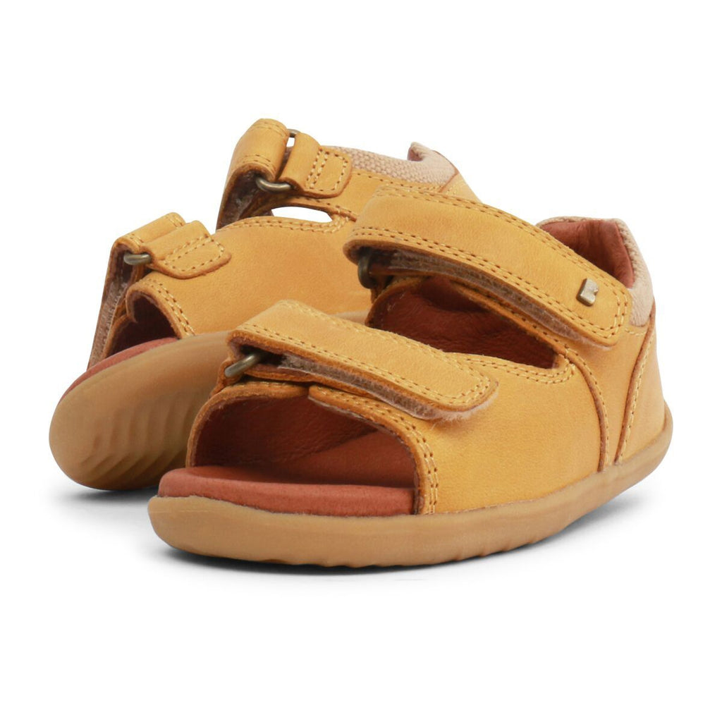 Pair of Side view of Bobux Step Up Driftwood Chartreuse Yellow Open Toe Sandals, barefoot children's shoes. From Cooshoo fitted childrens shoes.