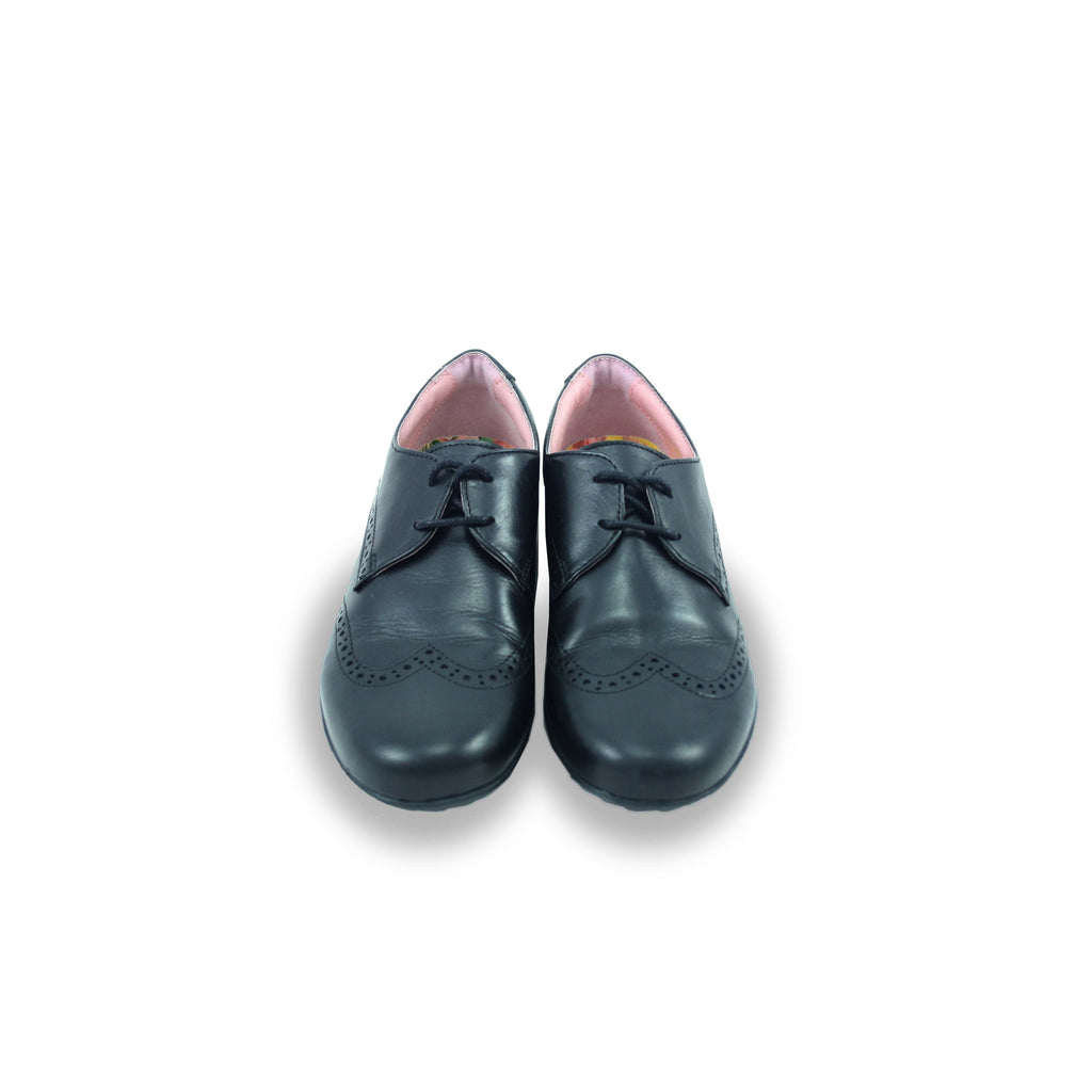 Pair of Petasil Emma Black Brogue School Shoes. From Cooshoo fitted childrens school shoes.