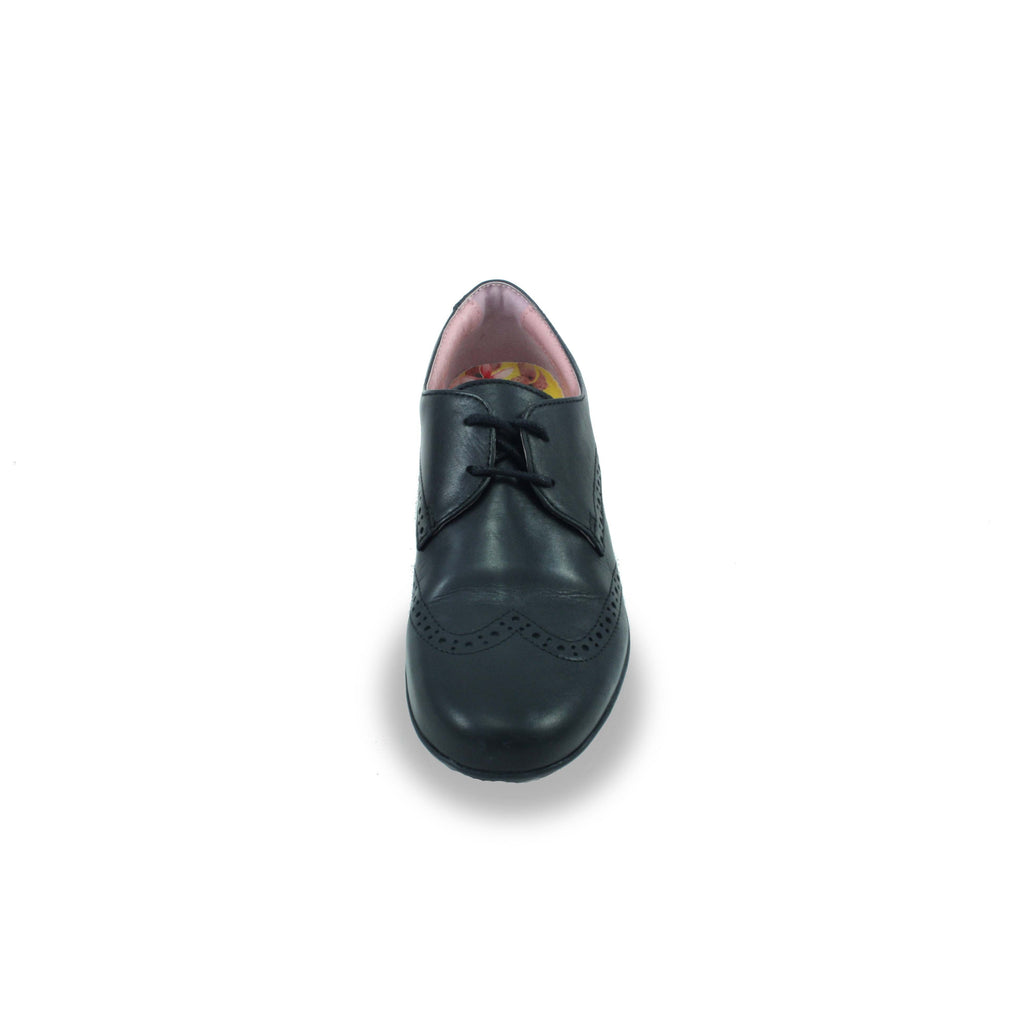 Front of Petasil Emma Black Brogue School Shoe. From Cooshoo fitted childrens school shoes.