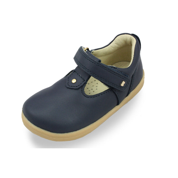 Bobux I-Walk Louise Navy T-bar barefoot kids shoes. From Cooshoo fitted childrens shoes.