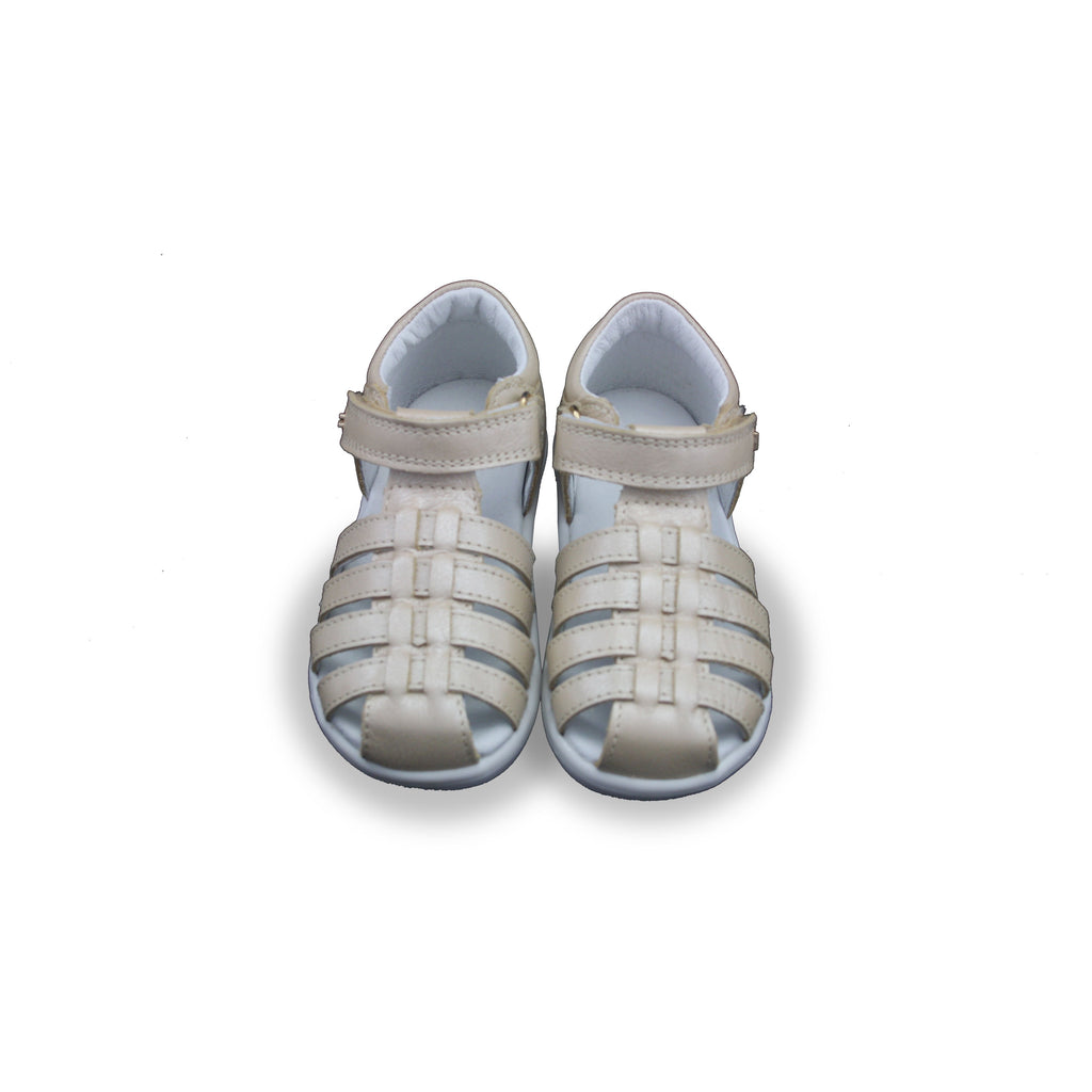 Pair of Bobux Kid+ Champagne Jump Sandals. From Cooshoo kids shoes.