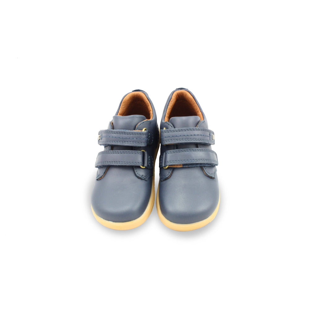 Pair of Bobux I Walk Port Navy Blue Shoes. Cooshoo kids shoes.