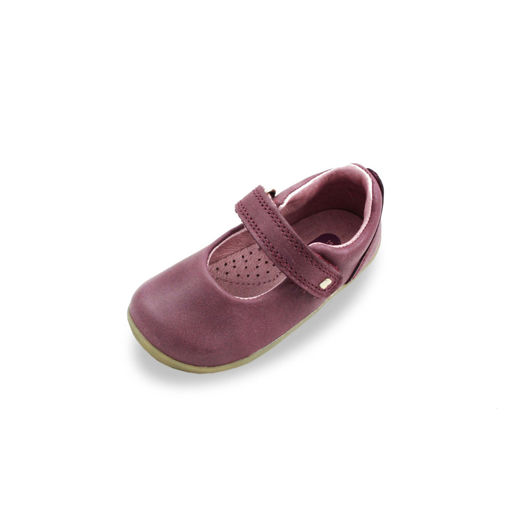 Bobux Step Up Plum Delight Mary Jane barefoot shoe. Cooshoo fitted children's shoes.