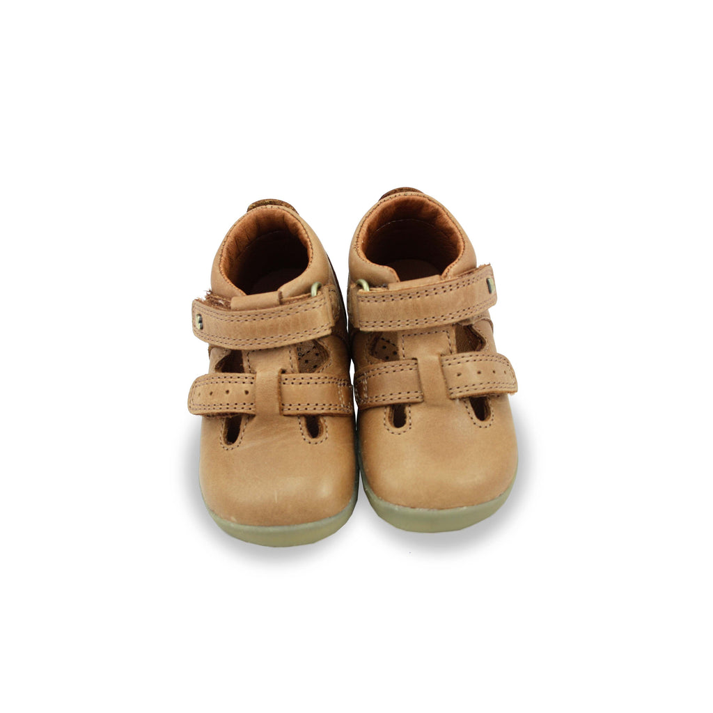 Pair of Bobux Step Up Jack and Jill Caramel Shoes. Cooshoo kids shoes.