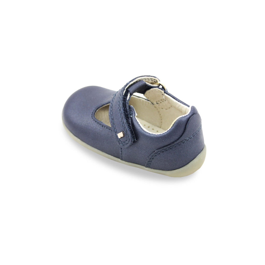 Bobux Step Up Louise Navy T-bar barefoot shoes. From Cooshoo fitted children's shoes. Back view.