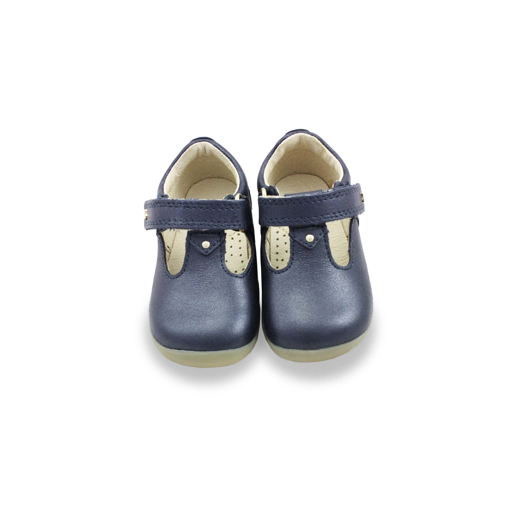 Pair of Bobux Step Up  Louise Navy T-bar barefoot shoes. From Cooshoo fitted childrens shoes.