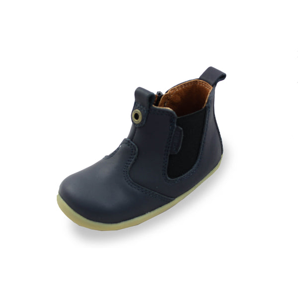 Bobux SU Navy Jodphur Boots, barefoot children's shoes. From Cooshoo fitted childrens shoes.