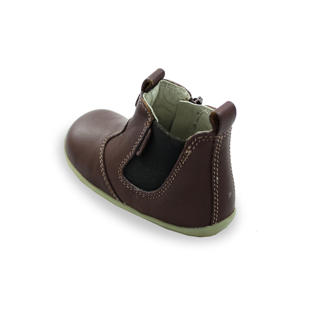 Heel of Bobux Step Up Toffee Brown Jodphur Boot. From Cooshoo fitted childrens shoes.