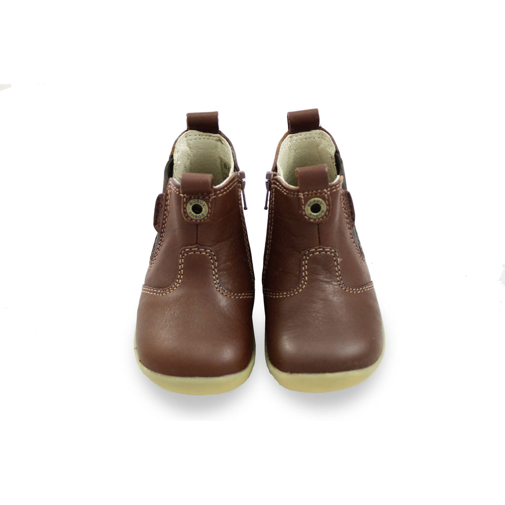 Pair of Bobux Step Up Toffee Brown Jodphur Boots. From Cooshoo fitted childrens shoes.