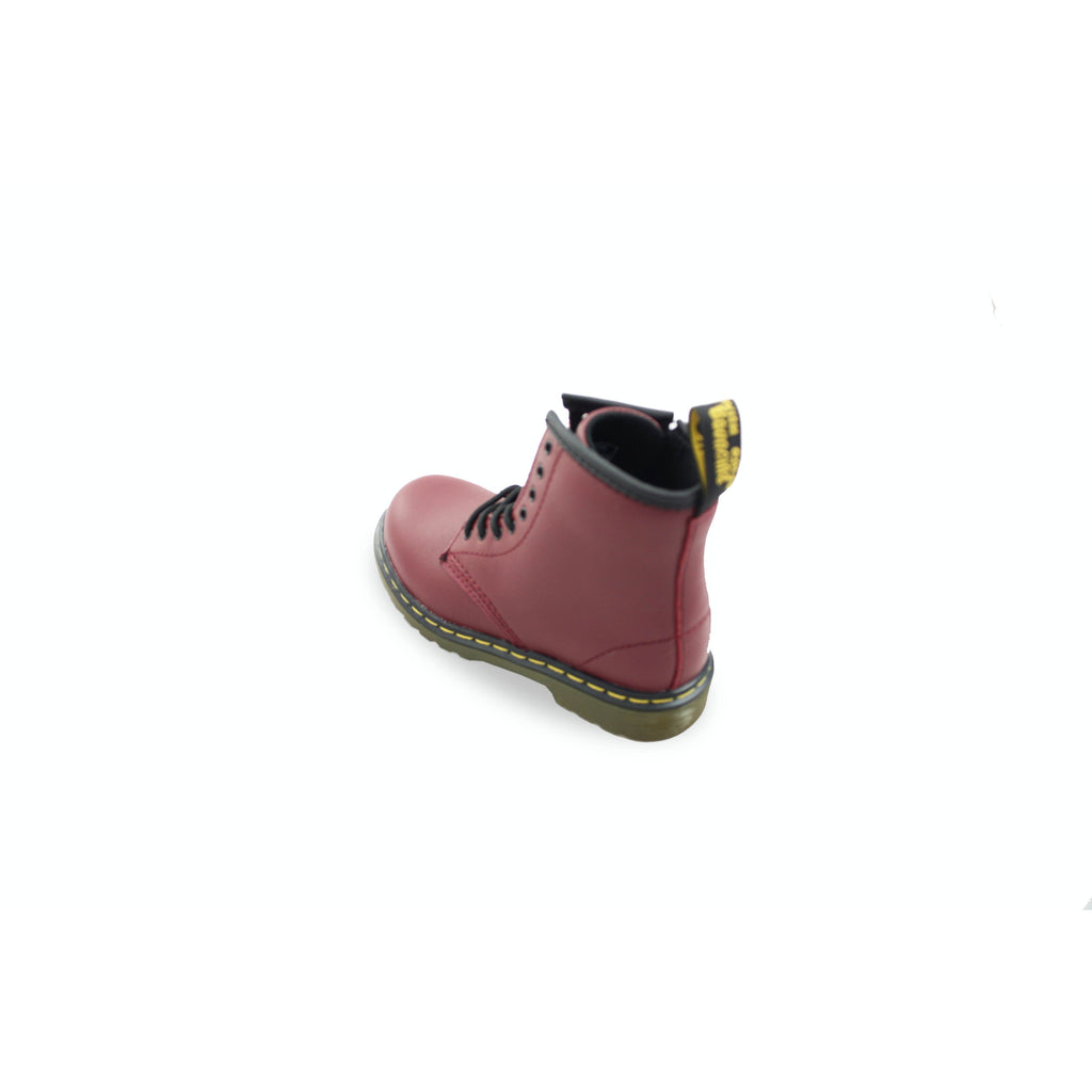 Heel of Dr Martens Cherry Red Softy T Boots. From Cooshoo fitted kids shoes.
