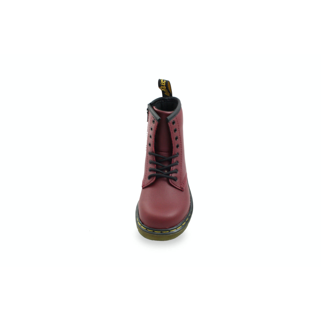Single view of Dr Martens Cherry Red Softy T Boots. From Cooshoo fitted kids shoes.