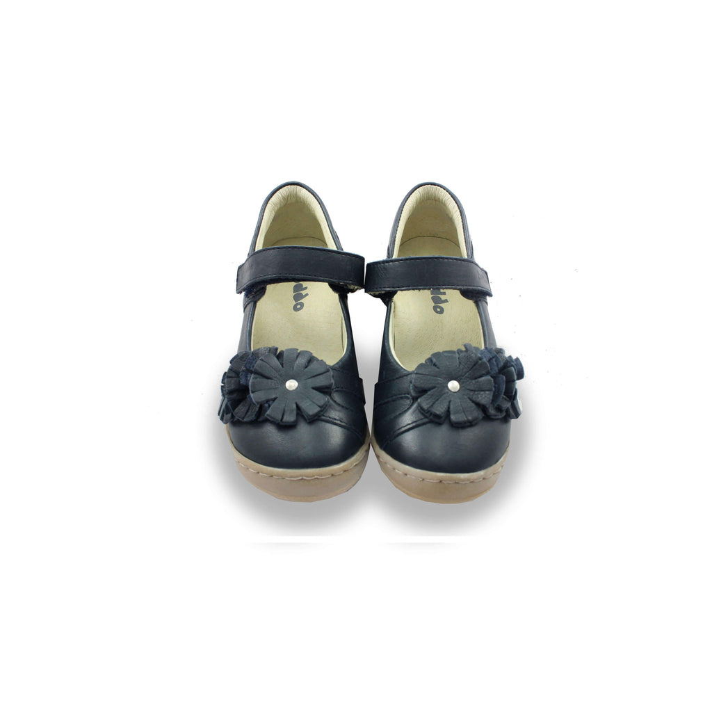 Pair of  Froddo Navy Mary-Jane Shoes with Rosette. Cooshoo kids shoes.