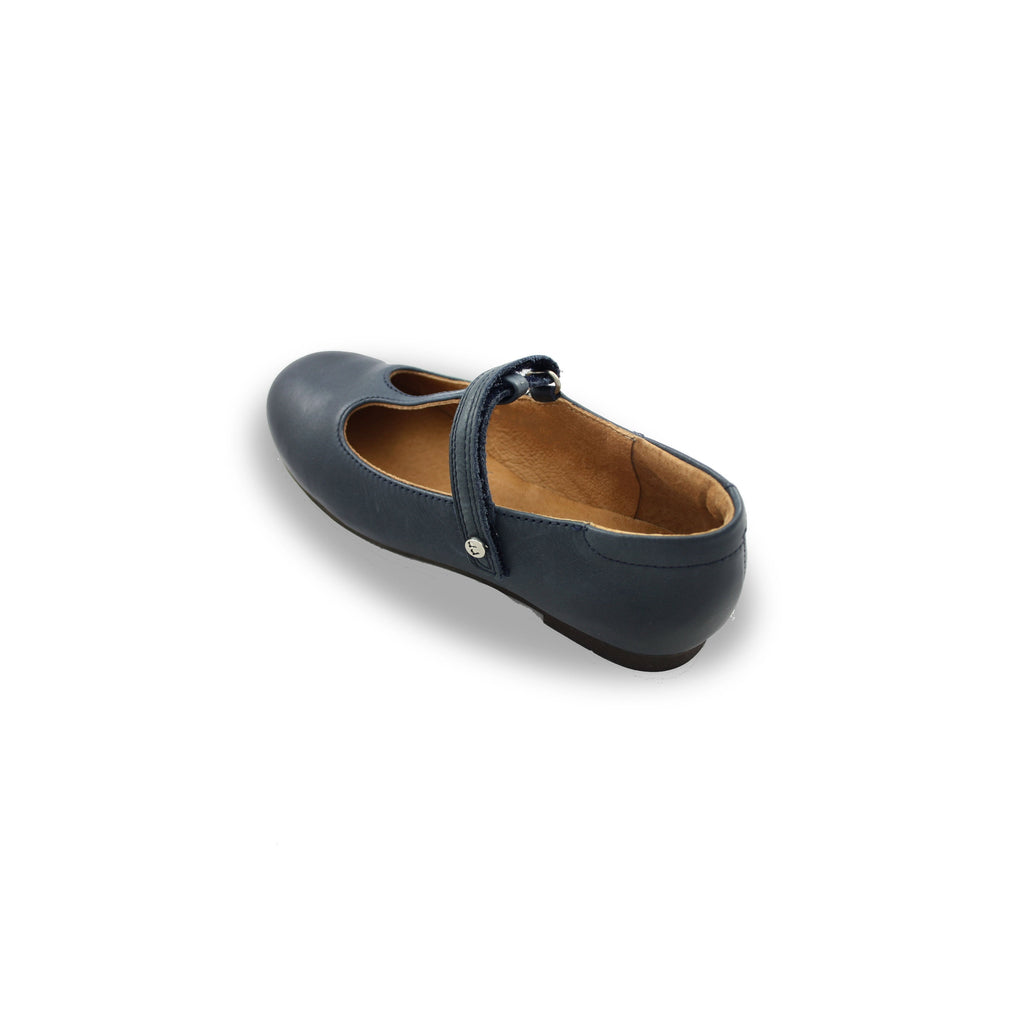 Heel of Froddo Classic Navy T-bar Shoes. Cooshoo kids shoes.
