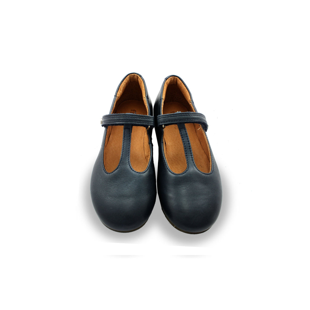 Pair of Froddo Classic Navy T-bar Shoes. Cooshoo kids shoes.