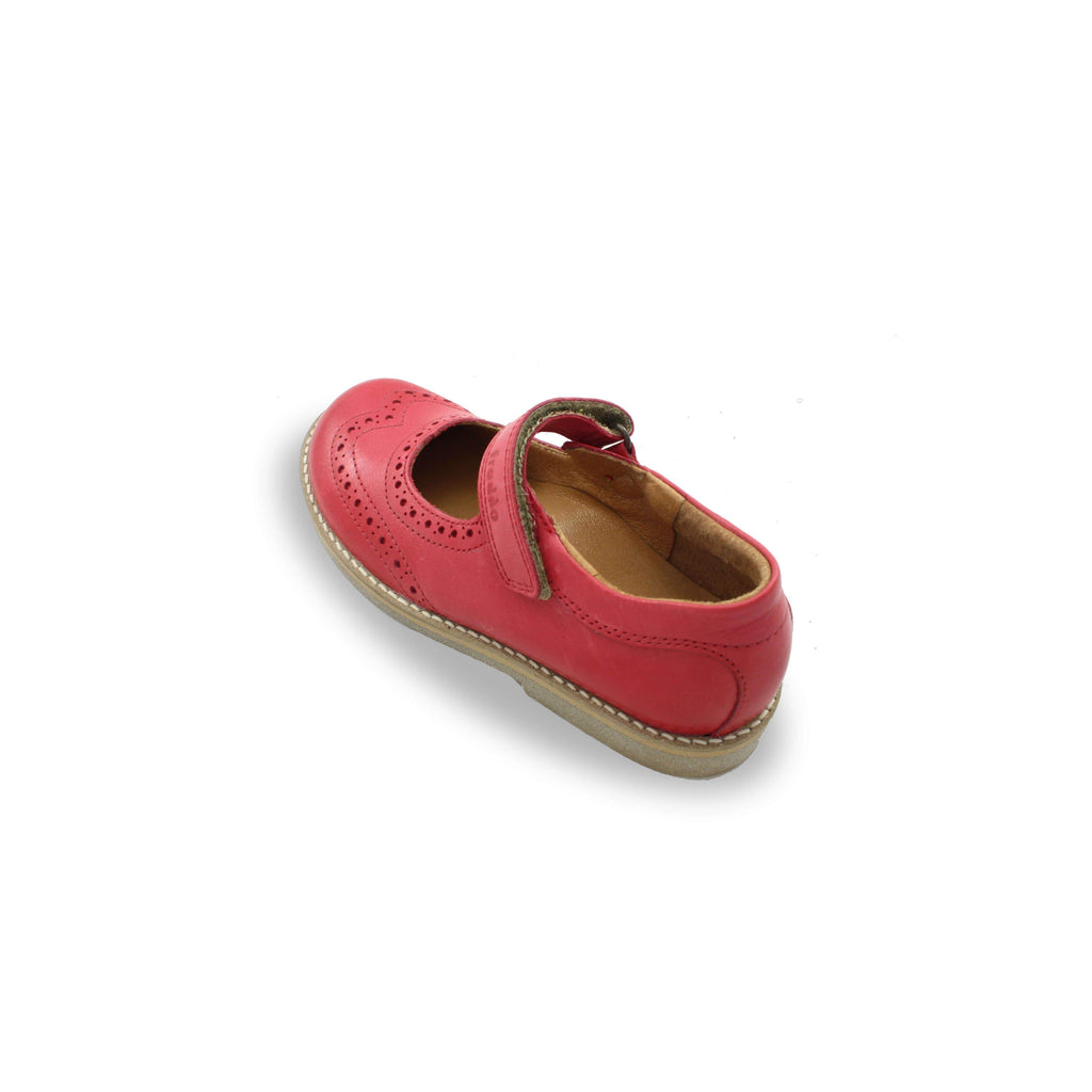Heel of Froddo Red Brogue Mary-Jane Shoes. Cooshoo kids shoes.