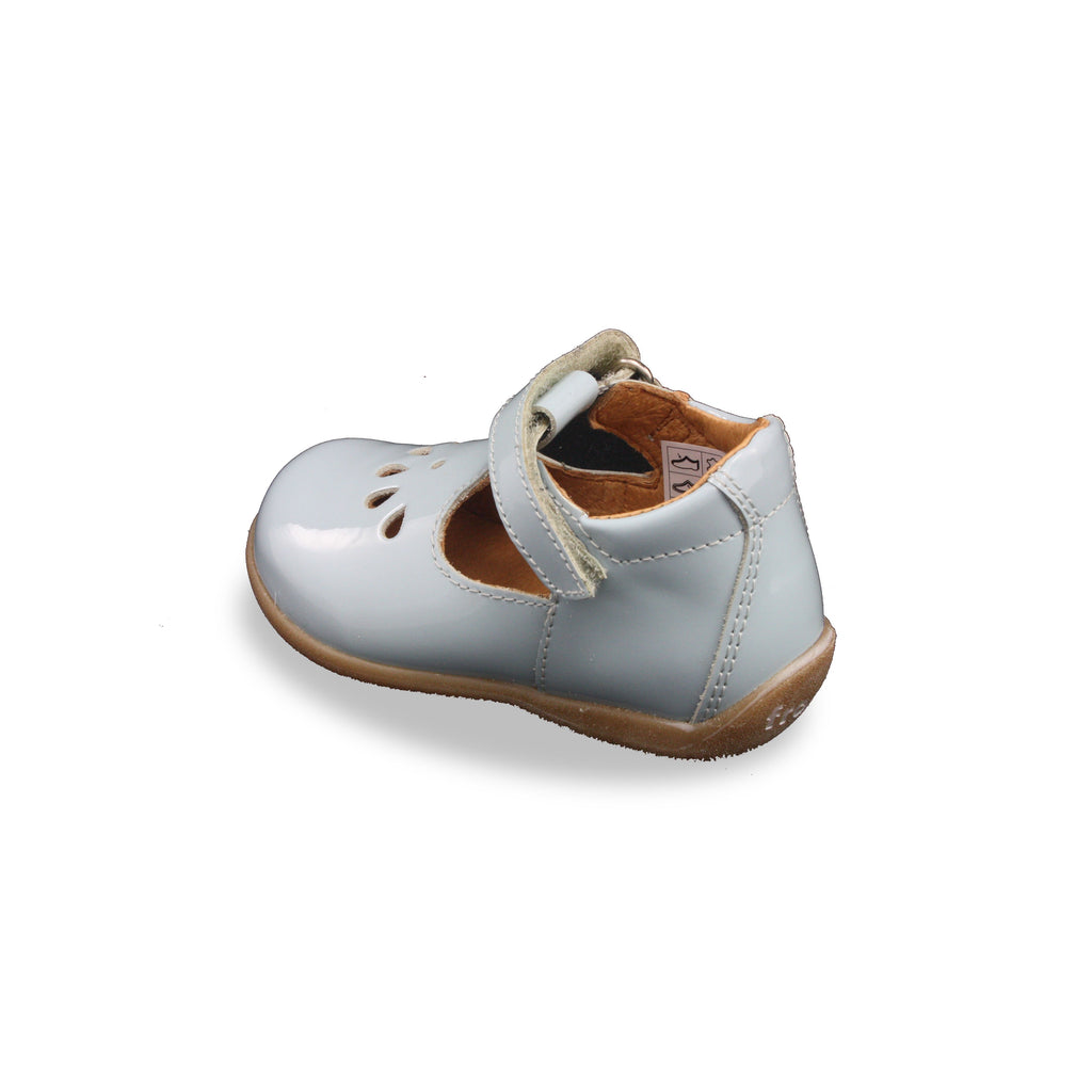 Heel of Froddo Blue Patent T-bar Shoes. Cooshoo kids shoes.
