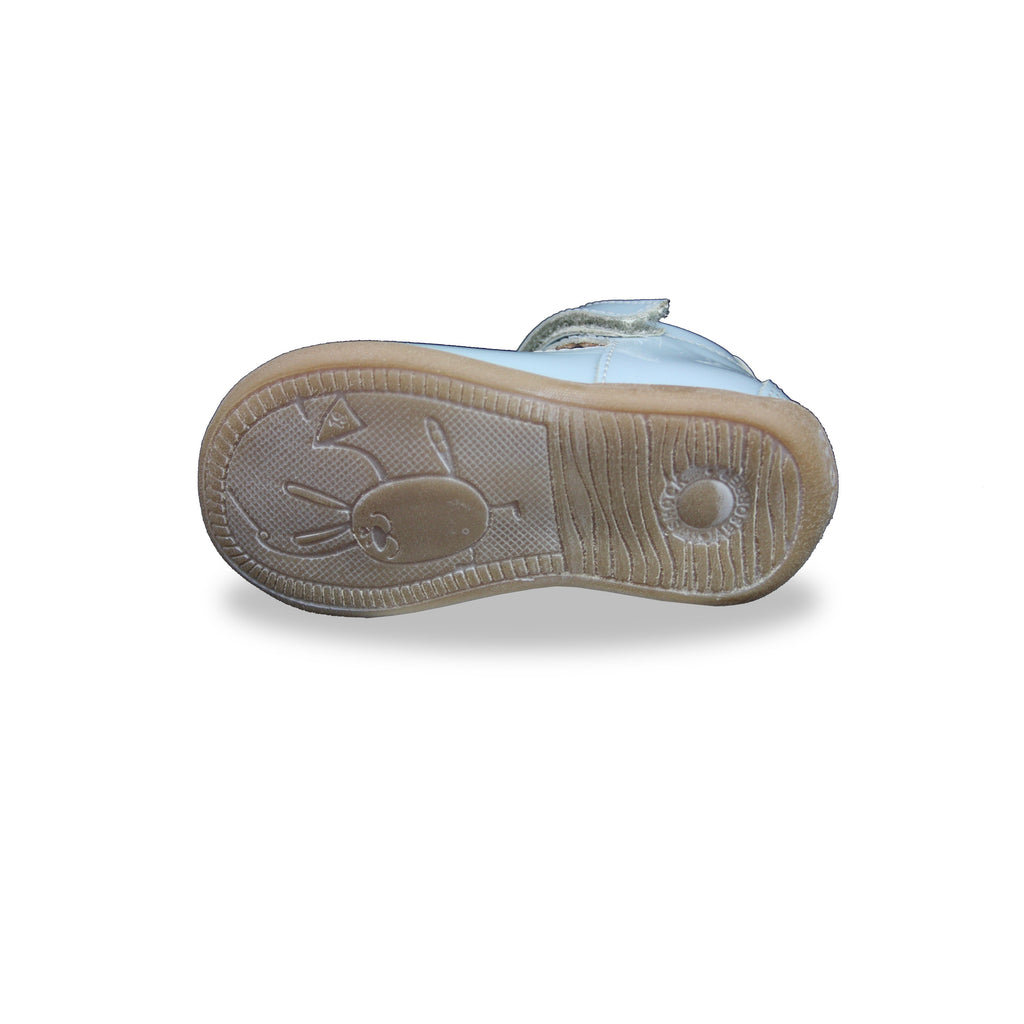Sole of Froddo Blue Patent T-bar Shoes. Cooshoo kids shoes.