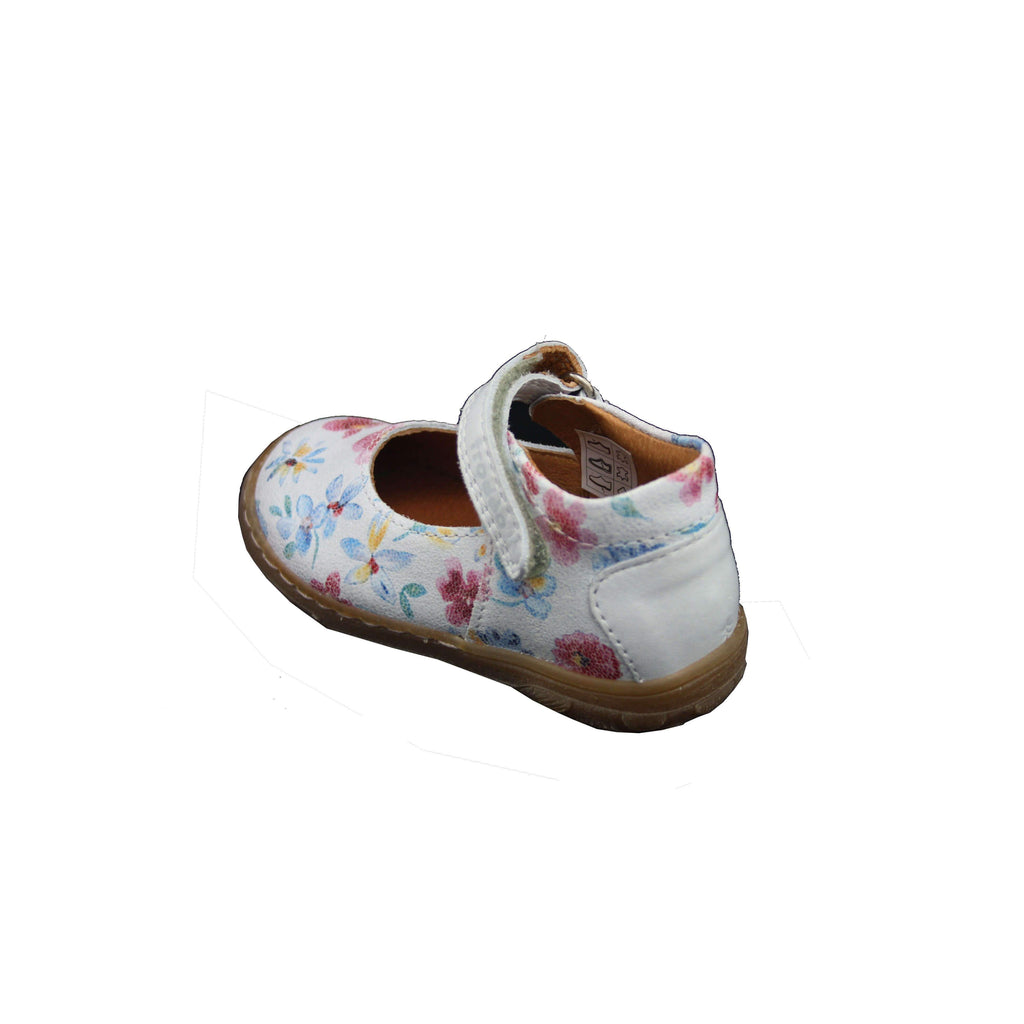 Heel of Pair of Froddo Flower Patterned Mary-Jane Shoes. Cooshoo kids shoes.