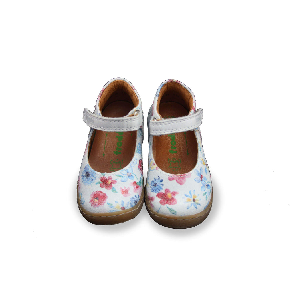Pair of Pair of Froddo Flower Patterned Mary-Jane Shoes. Cooshoo kids shoes.