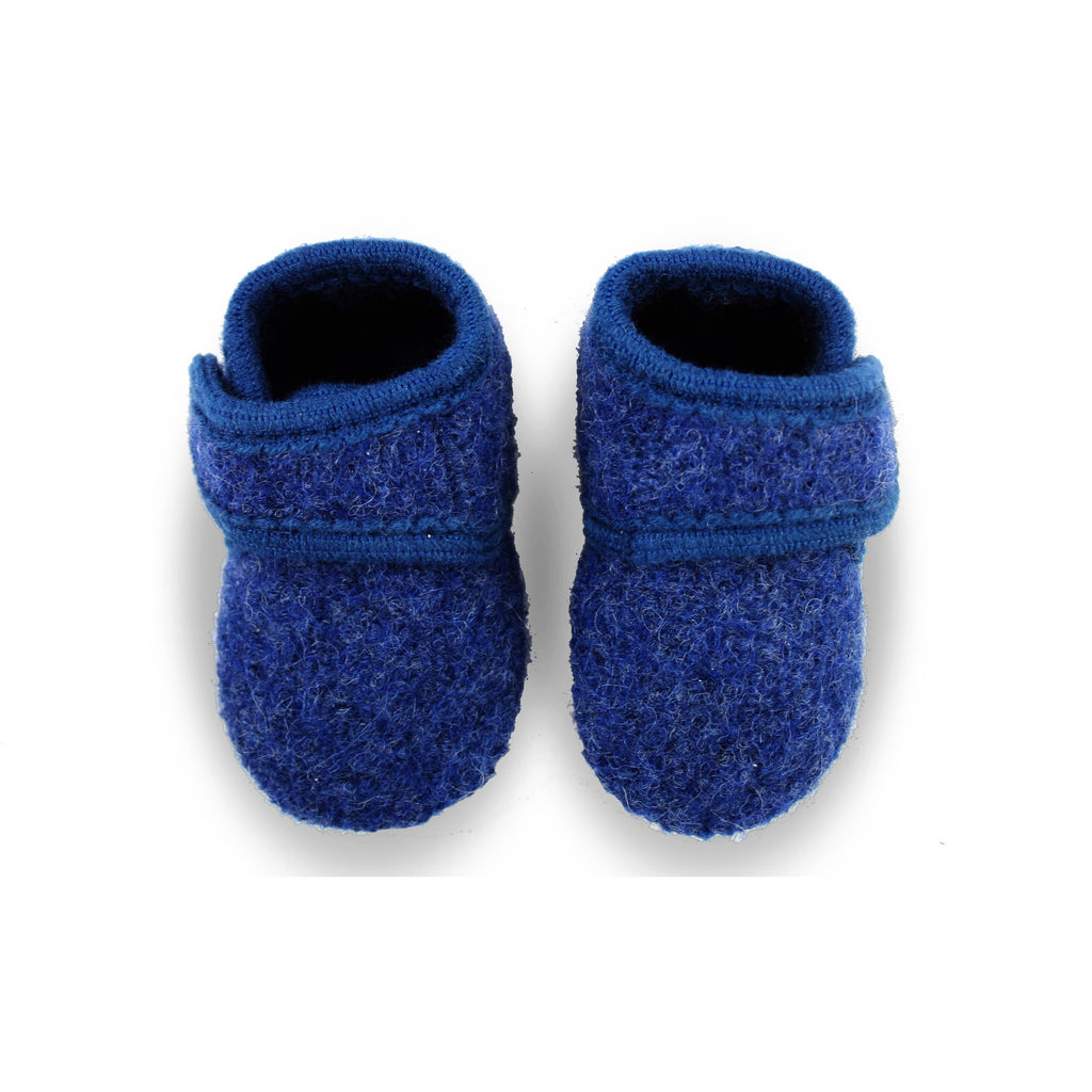 Melton Blue Wool Velcro Slipper-Baby-Melton-Cooshoo