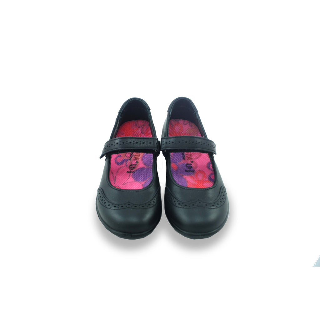 Pair of Ricosta Becky Black Mary-Jane Brogue School Shoes. From Cooshoo fitted childrens school shoes.