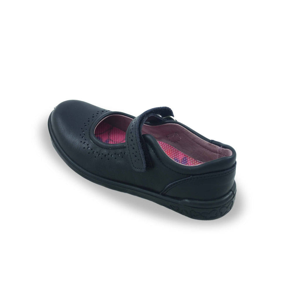 Heel of Ricosta Lillia Black School Shoes. Cooshoo school shoes.