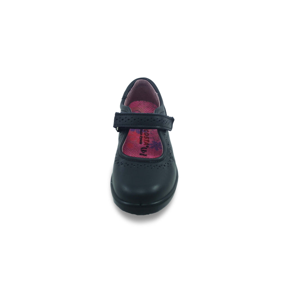Top view of Ricosta Lillia Black School Shoes. Cooshoo school shoes.