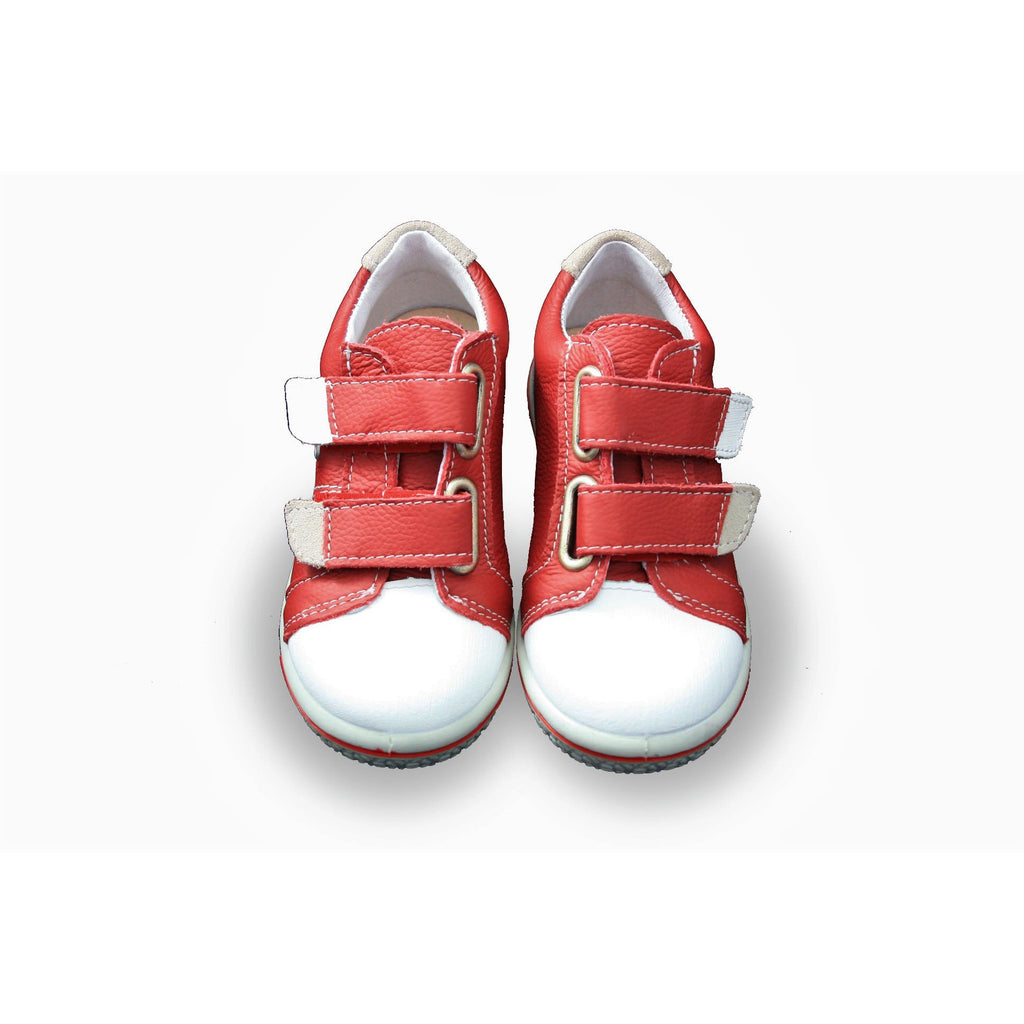Pair of Ricosta Nippy Red Trainer Shoes. Cooshoo kids shoes.